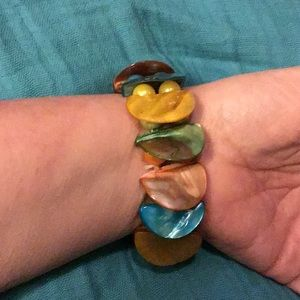 Mother of Pearl Bracelet Pink, blue, Orange 8""